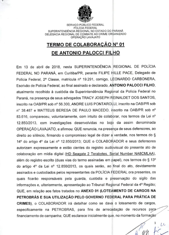 Termo de delação de Palocci — Foto: Reprodução