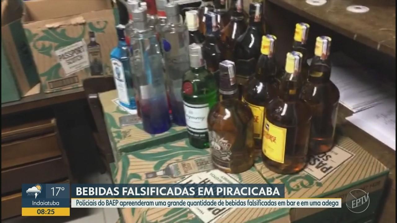 BAEP apreende grande quantidade de bebidas falsificadas em bar e adega de Piracicaba
