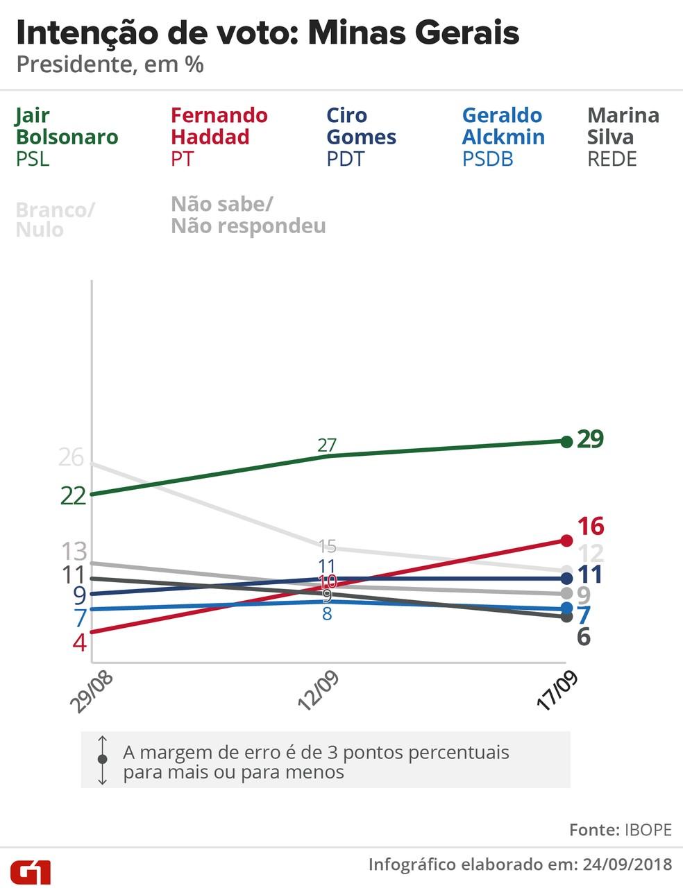 Pesquisa Ibope - evolução da intenção voto para presidente em Minas Gerais. — Foto: Arte/G1