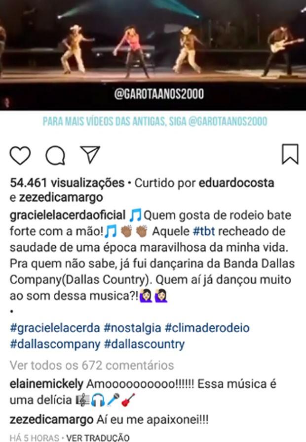 Zezé comenta foto de Graciele (Foto: Reprodução)