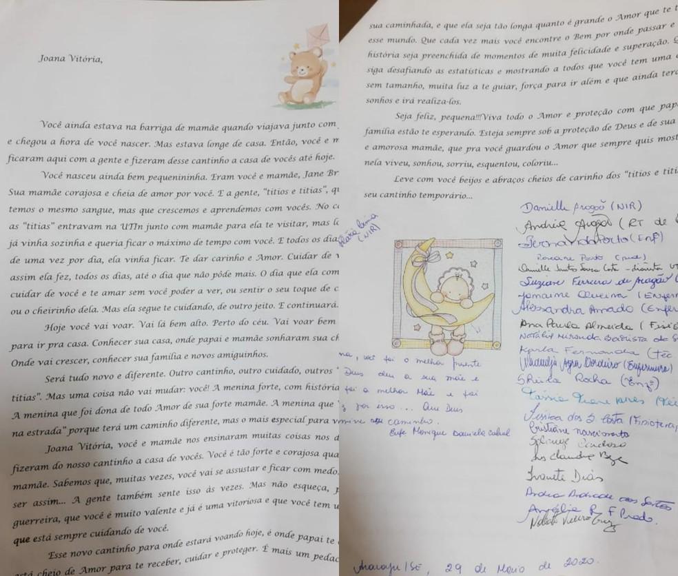 Carta da equipe da maternidade para bebê Joana Vitória levada de Sergipe para SC — Foto: G1