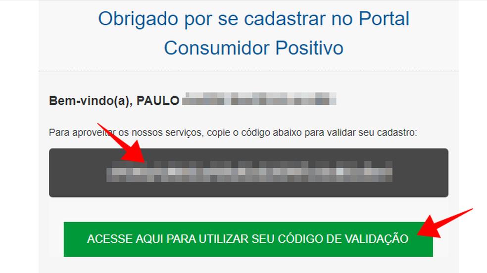 Copie o código de validação do Consumidor Positivo da Boa Vista (Foto: Reprodução/Paulo Alves)
