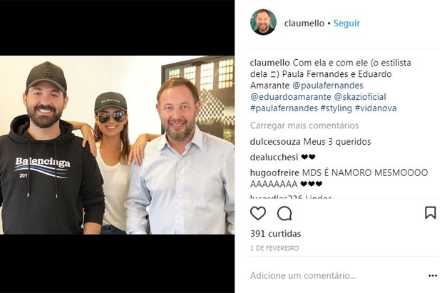 O estilista Eduardo Amarante com Paula Fernandes e Claudio Mello (Foto: Reprodução)