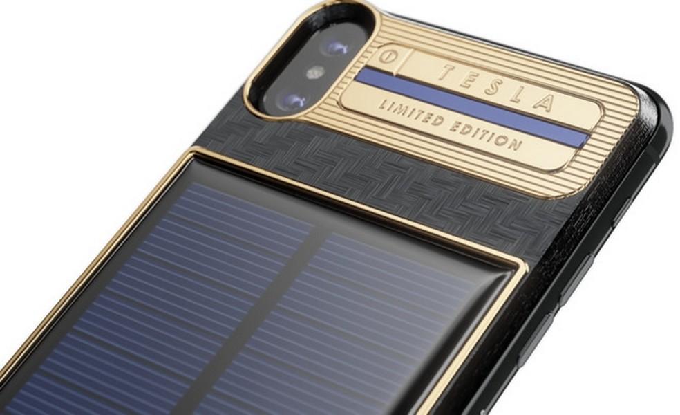 iPhone X Tesla, versão do top da Apple com painel solar, tem preço inicial de R$ 16,8 mil  (Foto: Divulgação/Caviar)