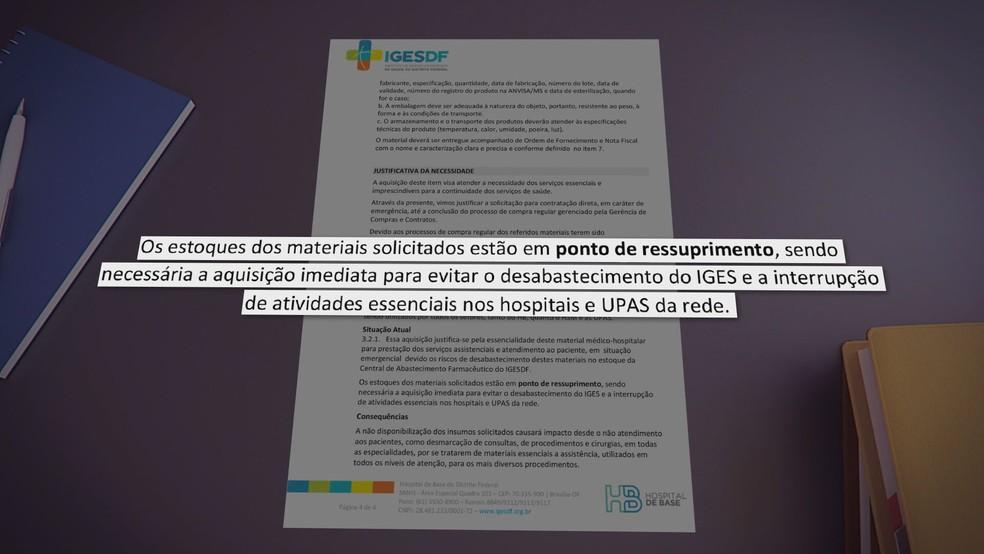 Documento do Iges-DF cita necessidade imediata de aquisição de EPis — Foto: Reprodução
