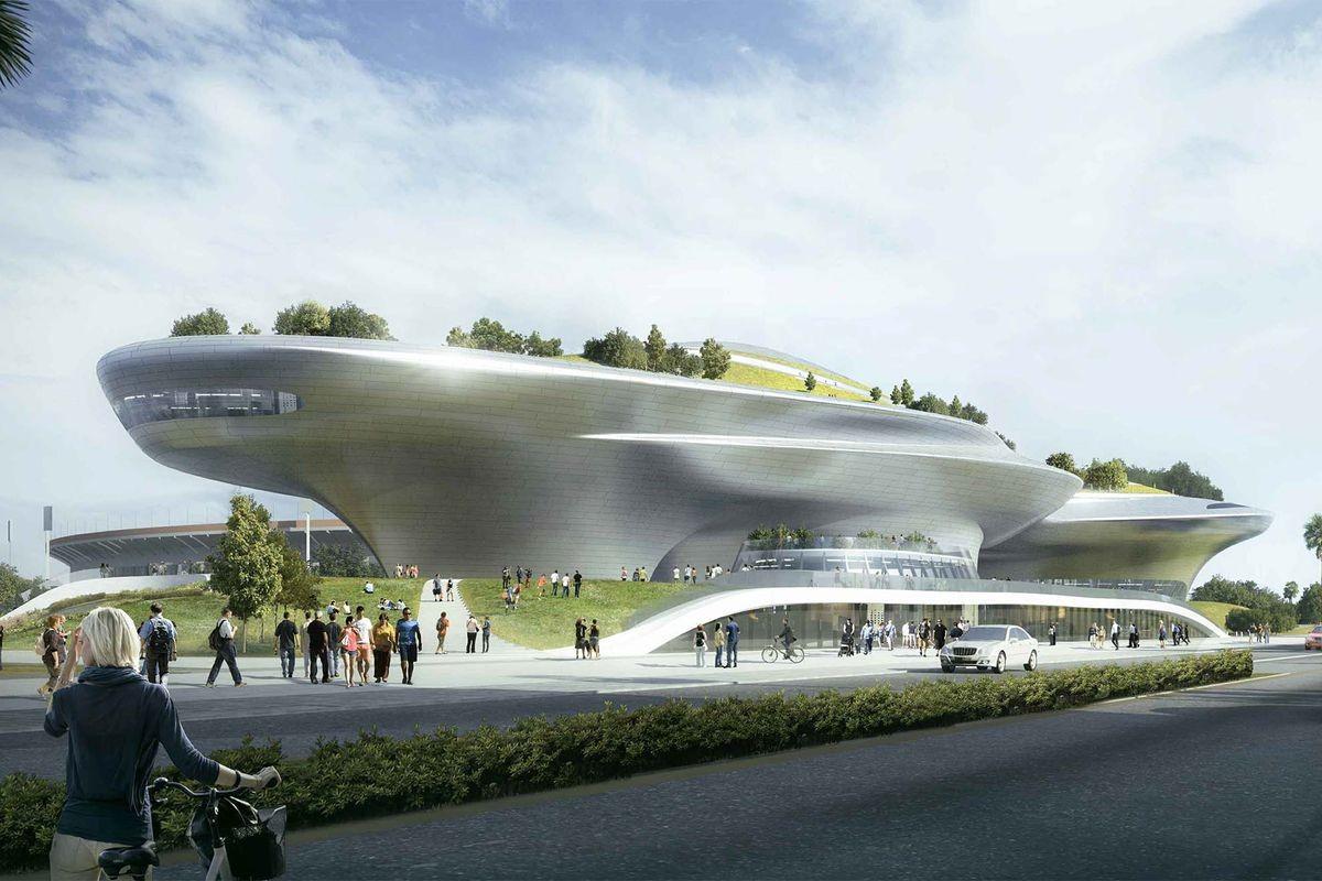 Ilustração representa o prédio que abrigará o museu de George Lucas (Foto: Divulgação)