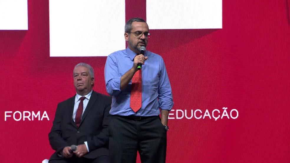 Ministro da Educação, Abraham Weintraub, em palestra em SP — Foto: TV Globo/reprodução