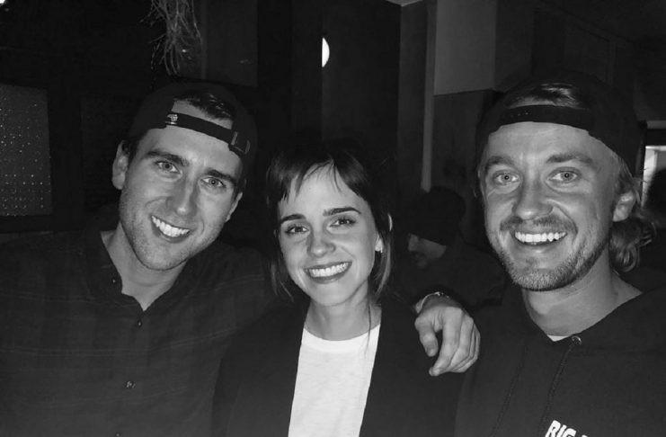 Tom Felton, Emma Watson e Matthew Lewis (Foto: Instagram)