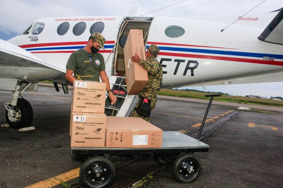 Respiradores enviados chegam ao governo do Pará — Foto: Reprodução / Agência Pará