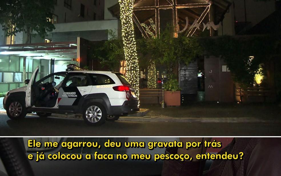 Funcionário relata que sushiman o ameaçou em restaurante no Itaim Bibi — Foto: TV Globo/Reprodução
