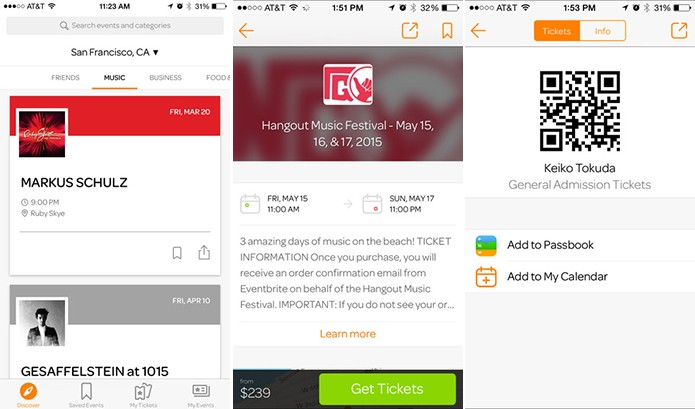 Eventbrite mostra programações gratuitas e pagas na localidade do usuário (Foto: Divulgação/Windows Phone Store)