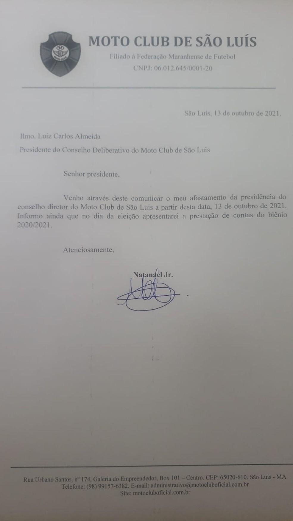 Pedido de licença do presidente do Moto Club, Natanael Júnior — Foto: Reprodução / Moto Club