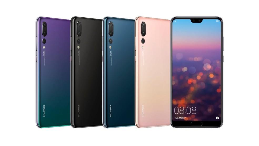 P20 Pro está disponível em preto, azul, rosa e twilight — Foto: Divulgação/Huawei