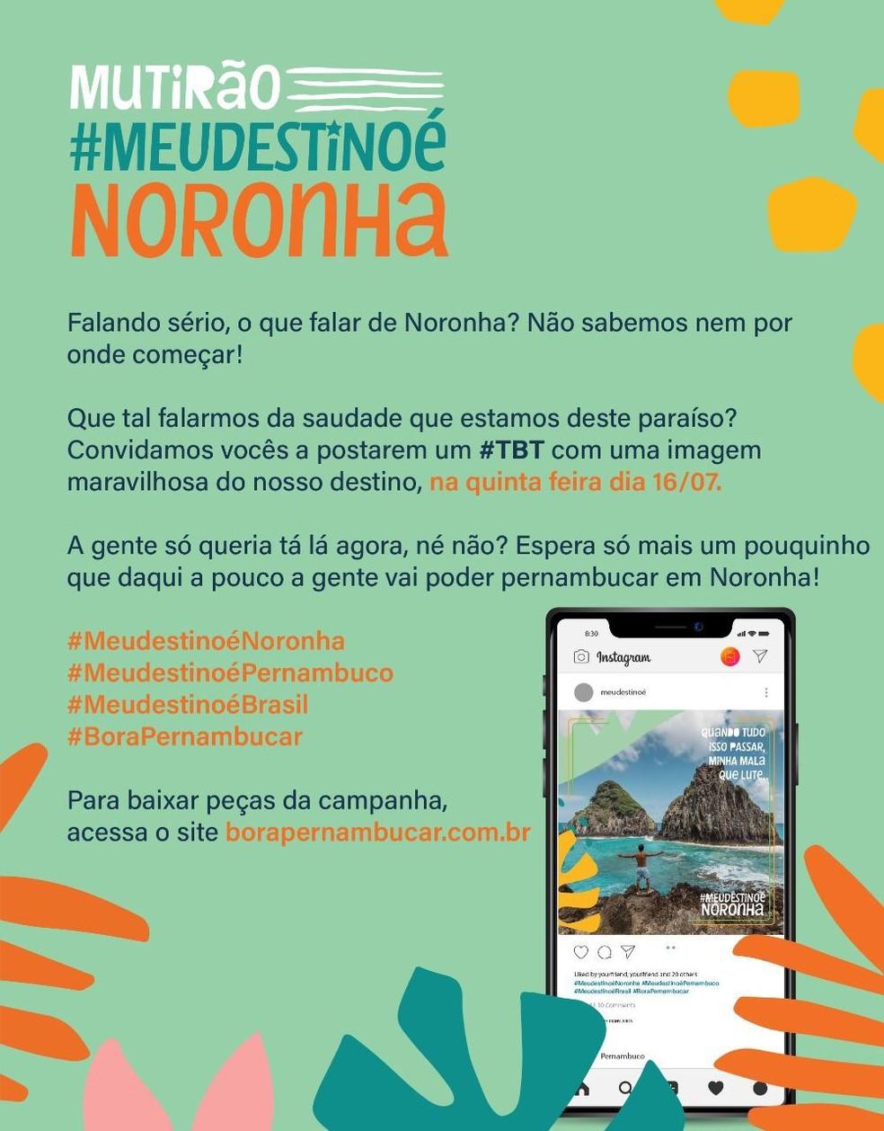Uma nova etapa da campanha de divulgação de Noronha vai ser lançada na quinta-feira (16) — Foto: Secretaria de Turismo/Divilgação