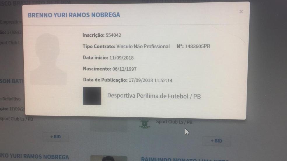 Registro no BID é do dia 17 de setembro e mostra que o vínculo com a Perilima do atleta é não profissional — Foto: Reprodução