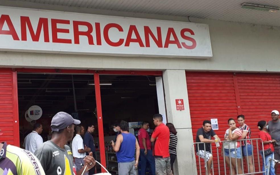 Unidade das Lojas Americanas foi interditada pelo Procon de Jaboatão dos Guararapes, no Grande Recife, neste sábado (4) — Foto: Erik Gondim/Procon Jaboatão