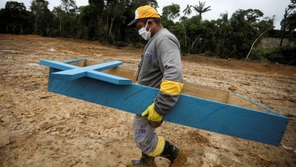 Coveiro em cemitério de Manaus — Foto: Reuters