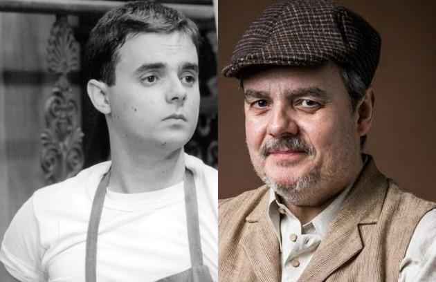 No ar em 'Éramos seis', Cassio Gabus Mendes viveu Bruno, sobrinho de Baltazar (Dennis Carvalho). Morava e trabalhava com o tio e era praticamente analfabeto (Foto: TV Globo)