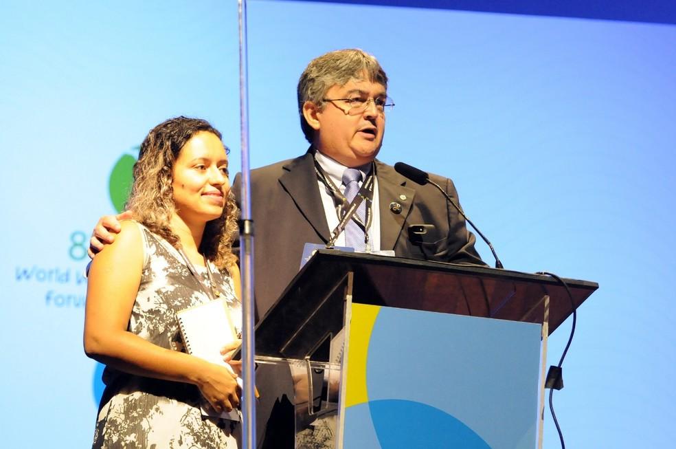 Tatiana Silva durante cerimônia de encerramento do 8º Fórum Mundial da Água. (Foto: Jorge Cardoso/8º FMA)