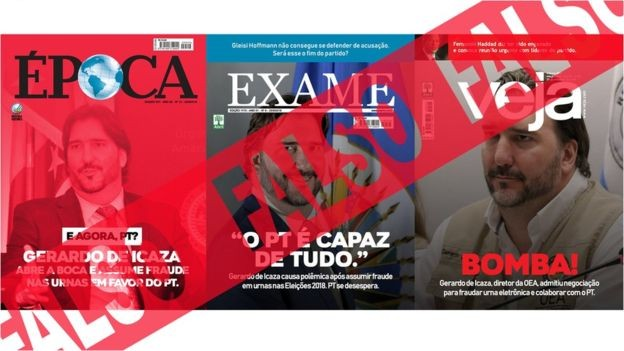 Mais montagens: na quarta, 26, o boato mais difundido é contra a imprensa, com capas falsas de revistas brasileiras (Foto: BBC News Brasil)