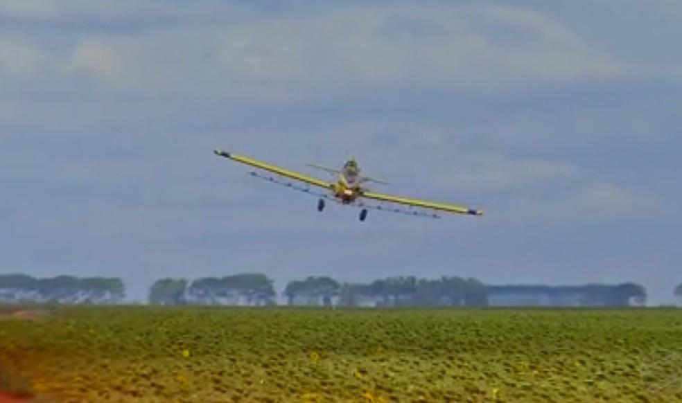 Aeronaves fazem aplicação de defensivos em lavouras (Foto: TVCA/Reprodução)