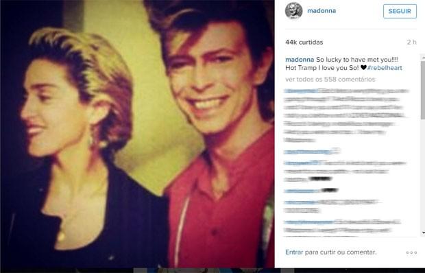Madonna publicou foto ao lado de David Bowie para homenagear o cantor (Foto: Reprodução/Instagram/madonna)