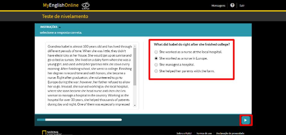 Preencha as dezenas de respostas da avaliação no site MyEnglishOnline (Foto: Reprodução/Daniel Ribeiro)
