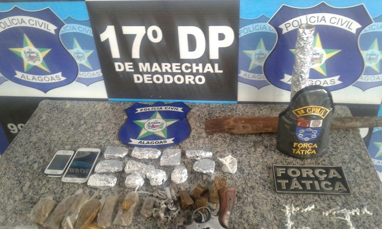 PM prende suspeitos de duplo homicídio e apreende drogas e armas em Marechal Deodoro