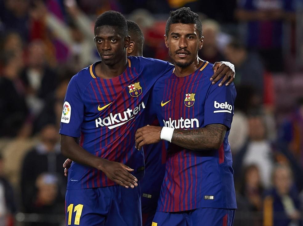 Paulinho et Dembélé étaient sur le terrain dans la victoire de Barcelone contre l'Espanyol samedi (Photo: Getty Images)