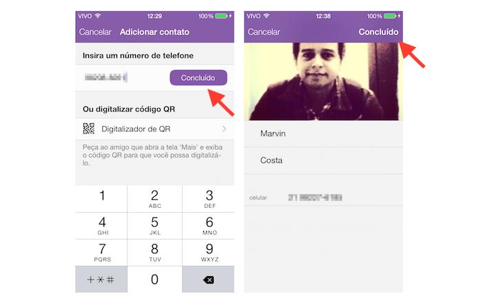 Adicionando um contato ao Viber (Foto: Reprodução/Marvin Costa)