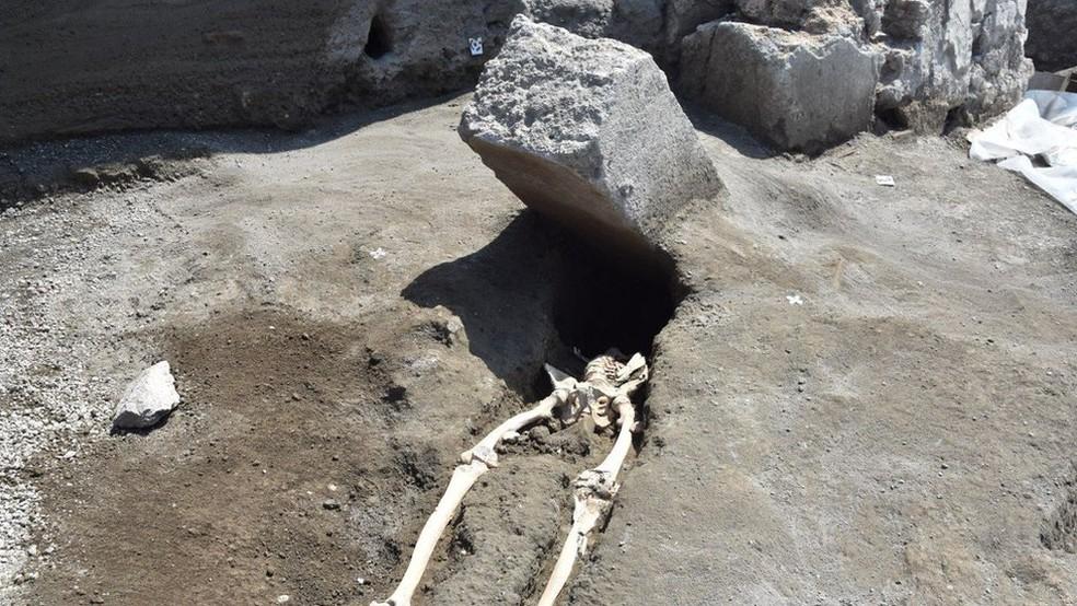 Descoberta é considerada 'excepcional' como parte dos estudos para entender impacto da erupção do Vesúvio na população de Pompeia (Foto: Parque Arqueológico de Pompeia/Divulgação)
