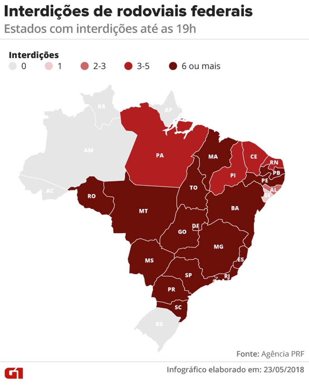 Mapa com os pontos de interdição nos estados da greve dos caminhoneiros (Foto: Alexandre Mauro/G1)