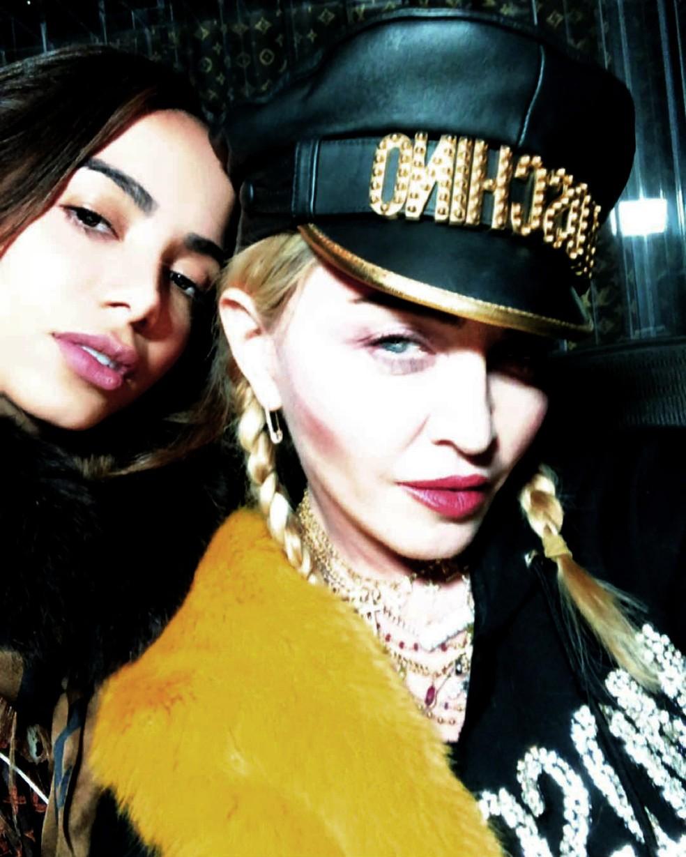 Anitta com Madonna na gravação do funk 'Faz gostoso' para álbum da cantora norte-americana — Foto: Reprodução / Instagram Anitta