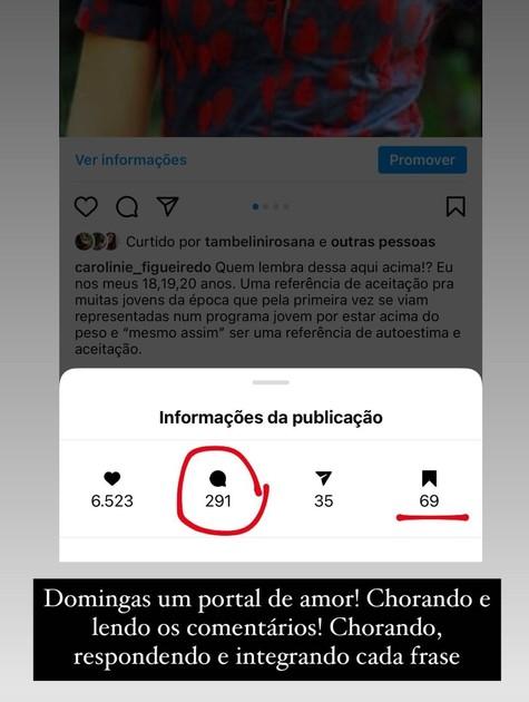 Carolinie Figueiredo comemora inteiração do fãs com sua publicação (Foto: Reprodução)