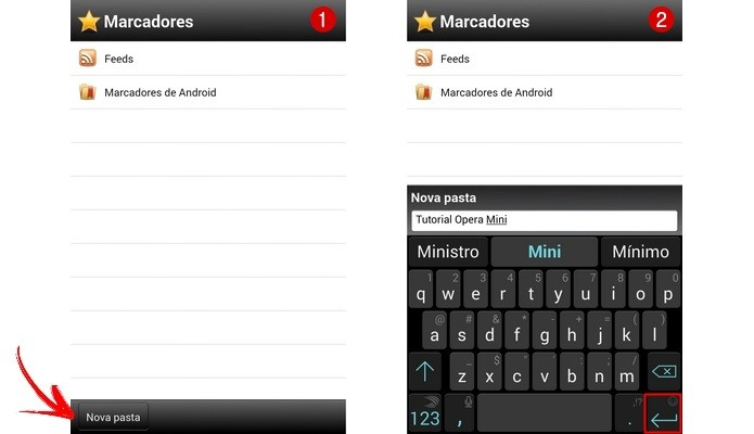 Telas do menu Marcadores do Opera Mini (Foto: Reprodução/ Raquel Freire)