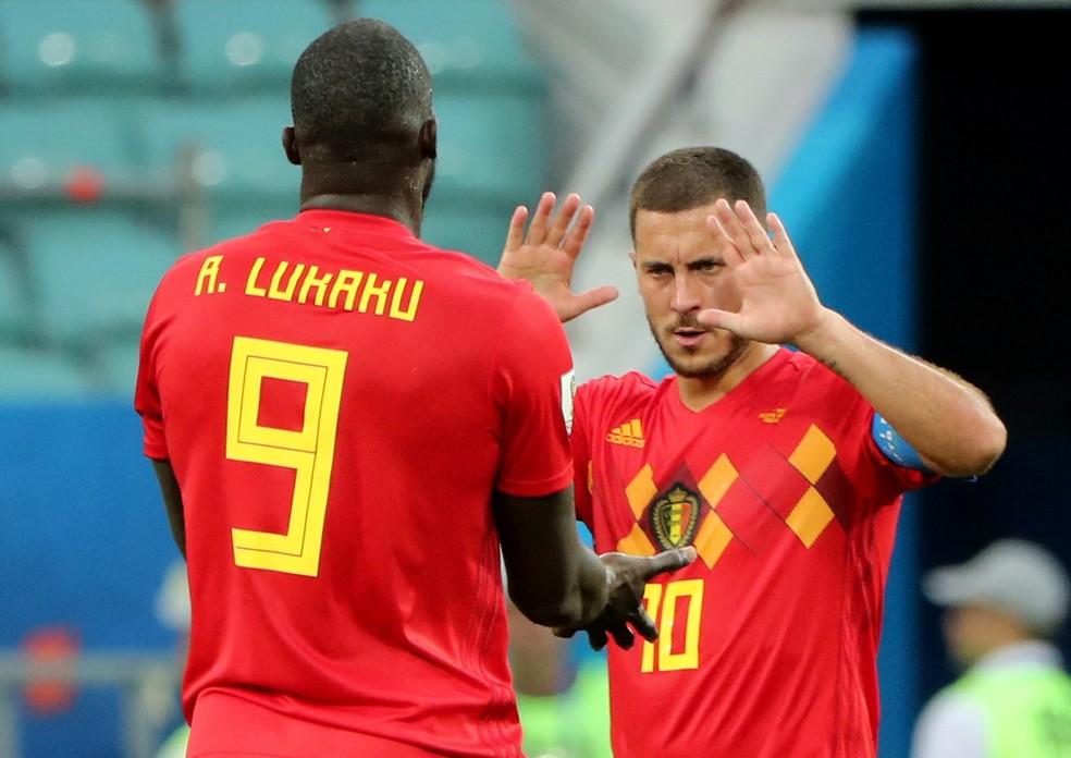 Lukaku e Hazard celebram gol da Bélgica contra o Panamá (Foto: Reuters/Marcos Brindicci)