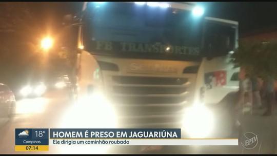 Homem é preso em Jaguariúna por suspeita de roubo de caminhão