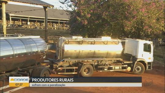 Produtores rurais de Descalvado, SP, estocam leite em caminhões