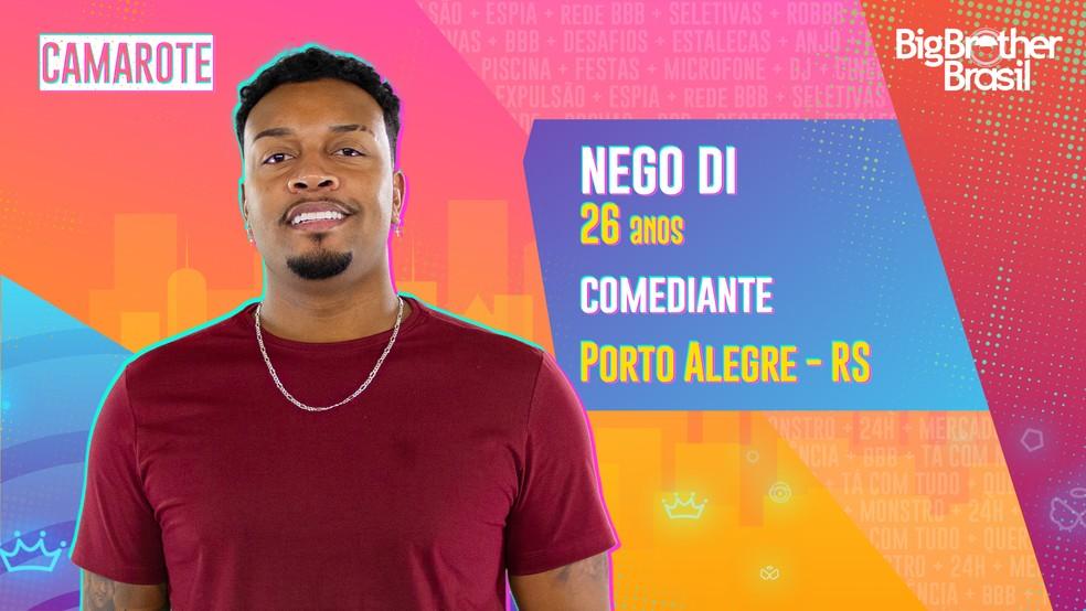 Nego Di é participante do 'BBB21' — Foto: Divulgação/Globo