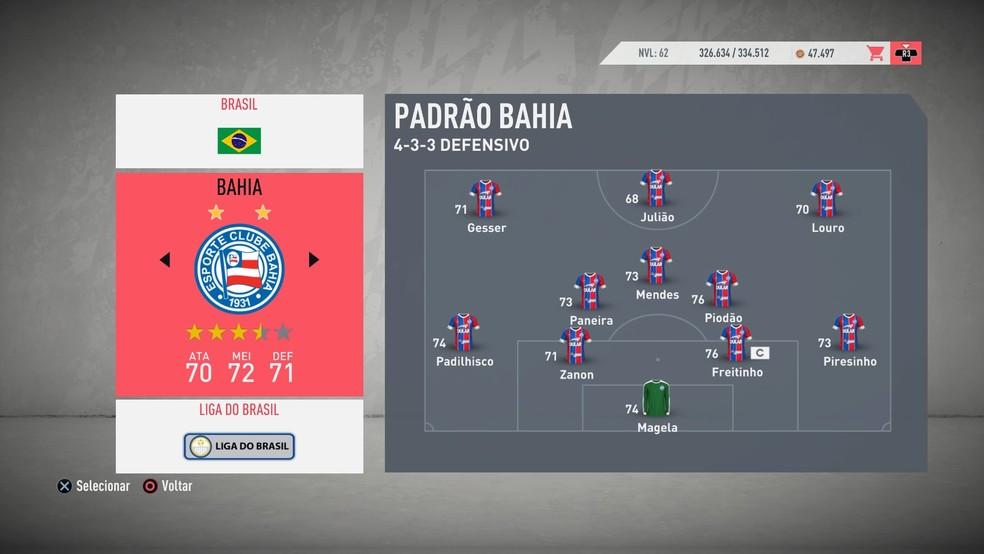No FIFA 20, o Bahia teve o licenciameno de escudos e uniformes, mas contou com jogadores genéricos — Foto: Reprodução / Diego Borges