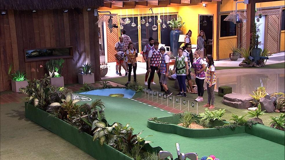 Prova do Líder foi uma competição de golf no BBB18 (Foto reprodução)