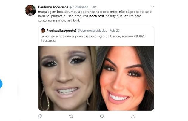 Usuária do Twitter fala sobre mudanças no visual de Boca Rosa (Foto: Reprodução/Instagram)