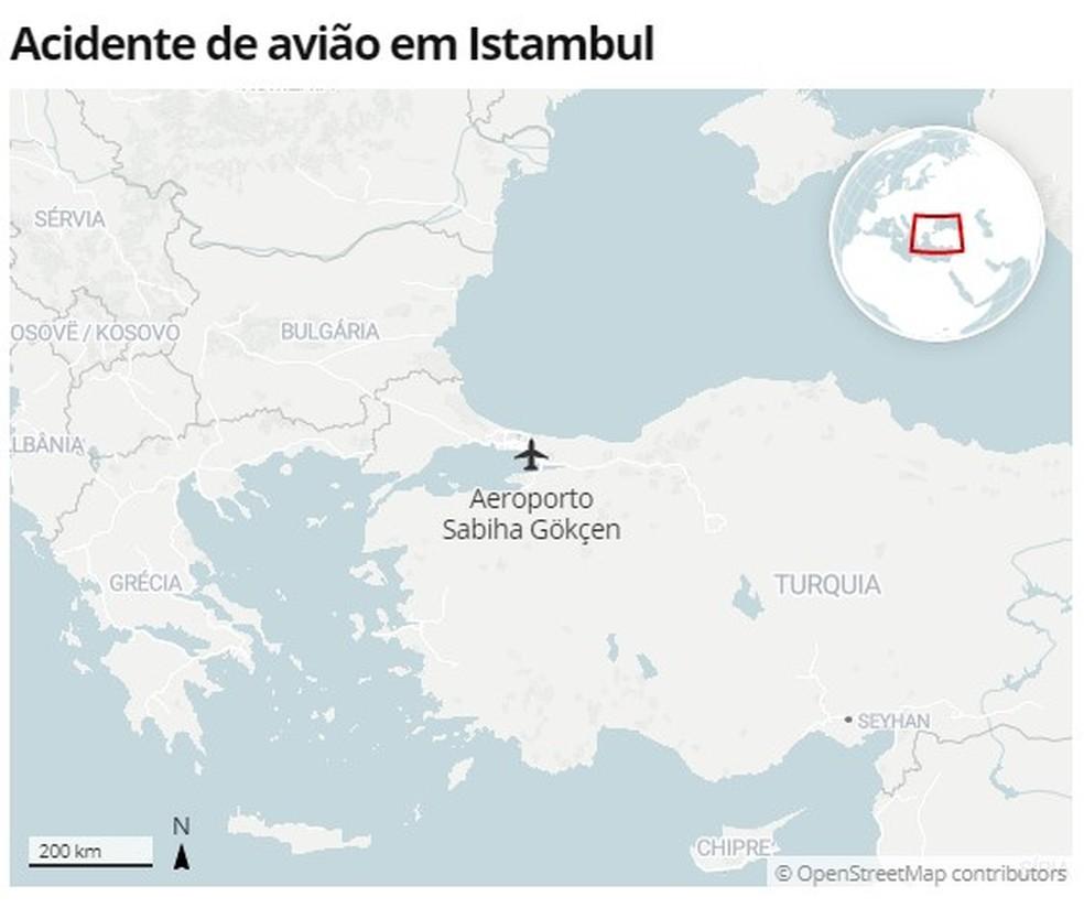 Local do acidente de avião na Turquia — Foto: G1