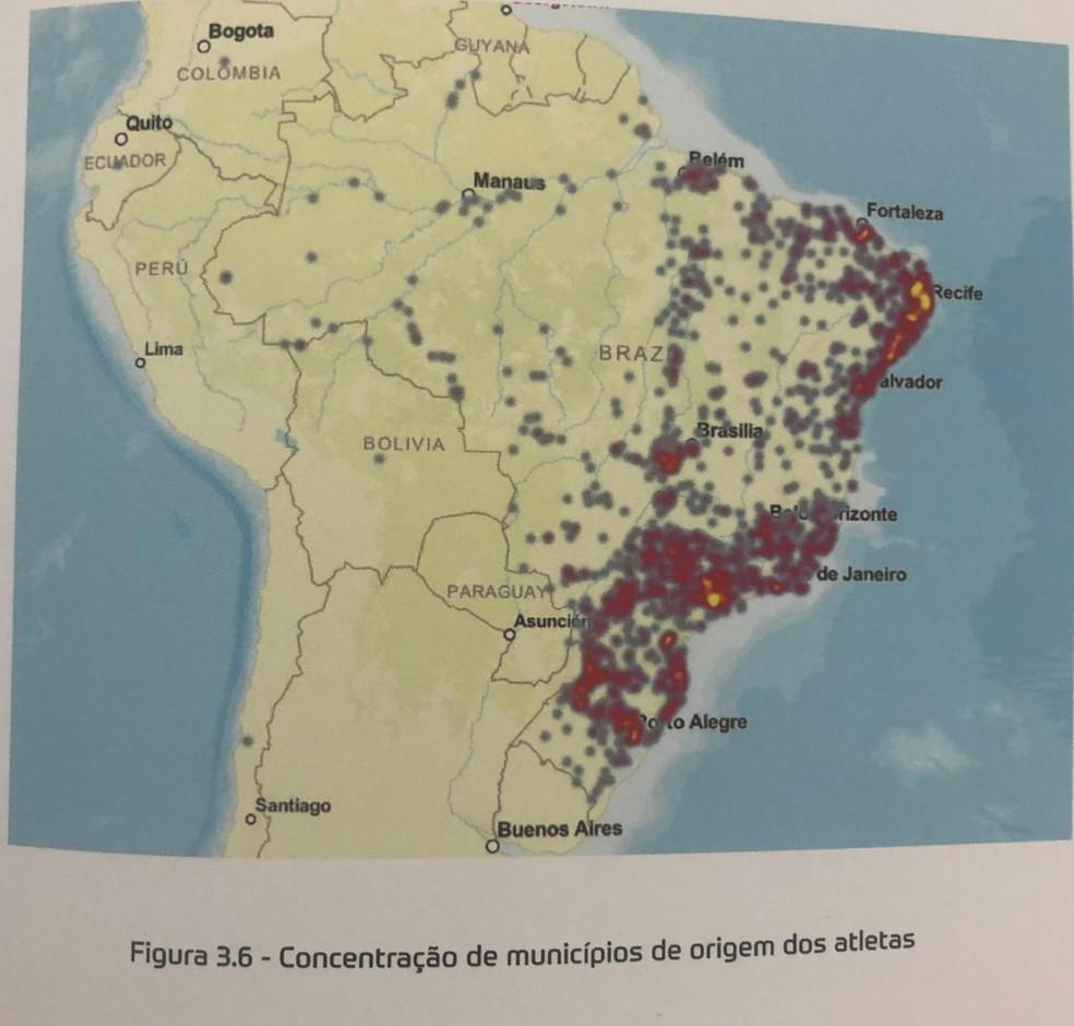 """""""Mapa de calor"""" de localidade dos jogadores registrados na CBF — Foto: Reprodução"""