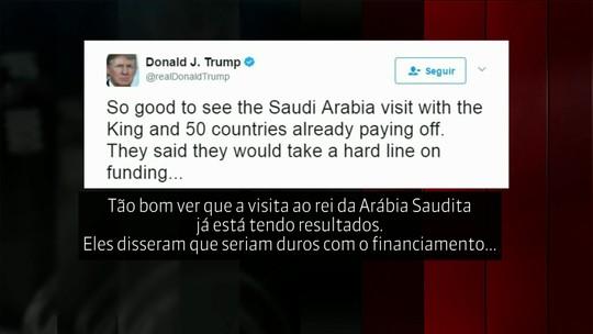 Trump diz nas redes sociais que viagem dele ao Oriente Médio já está dando resultados