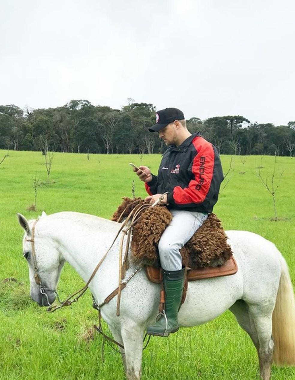Diego foi campeão brasileiro de laço comprido em cavalo  — Foto: João Mello/Gshow