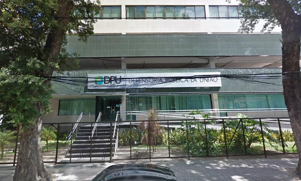 Defensoria Pública da União tem sede no Centro do Recife — Foto: Google Street View/Reprodução