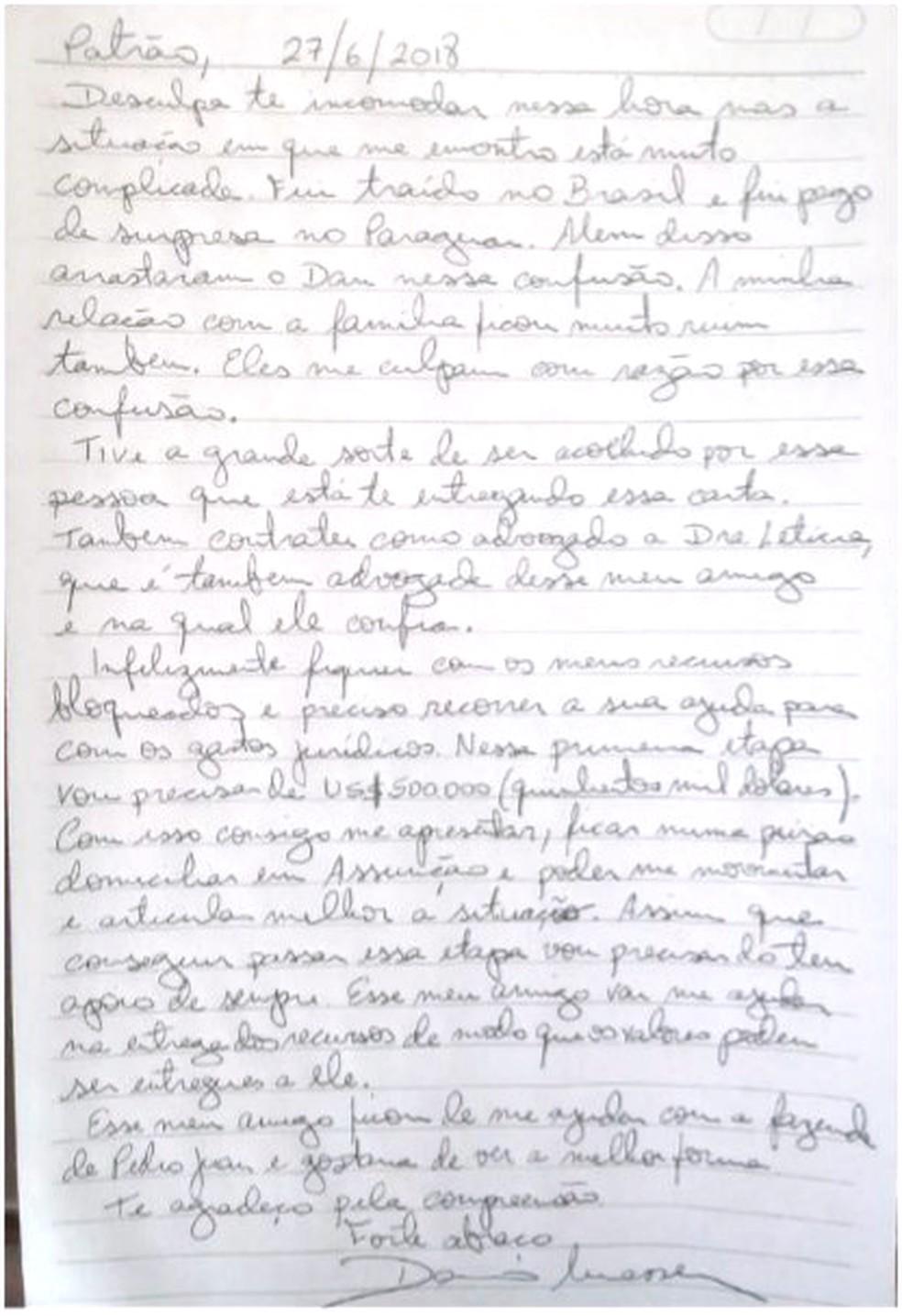 Carta de Dario Messer a Horacio Cartes — Foto: Reprodução