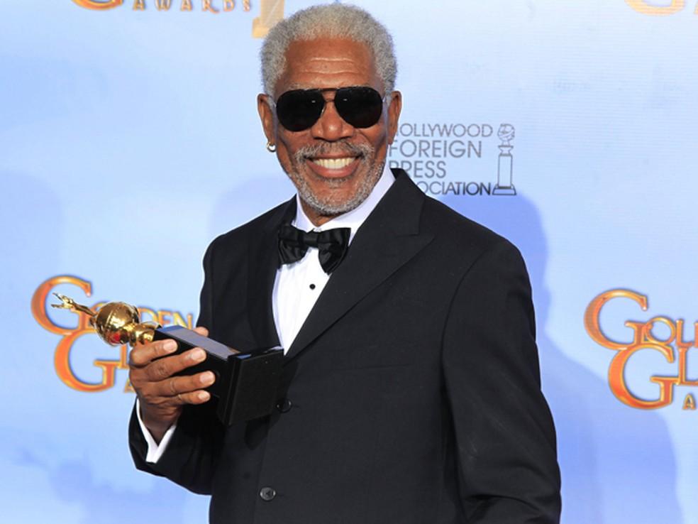 Morgan Freeman recebeu o prêmio Cecil B. DeMille. A honra é concedida anualmente desde 1952 pela contribuição ao mundo do entretenimento (Foto: Reuters)