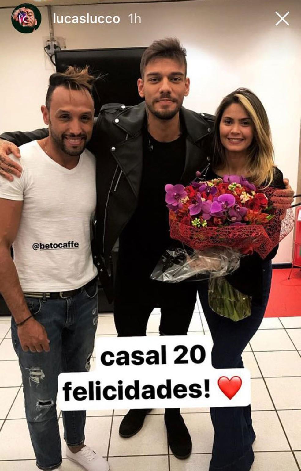O cantor até desejou felicidades ao casal em suas redes sociais! (Foto: Arquivo Pessoal Lucas Lucco)